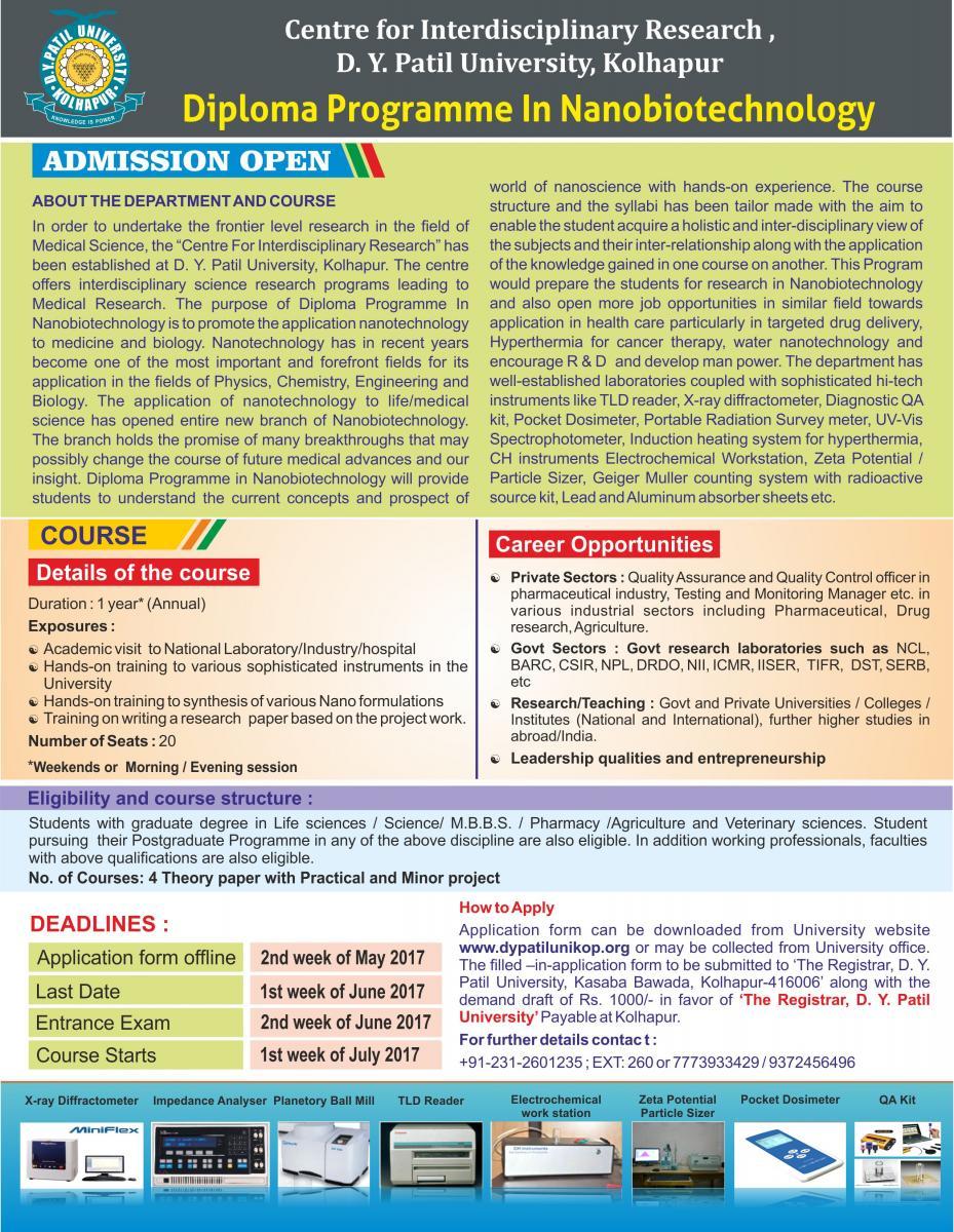 admission  diploma programe in nanobiotechnology